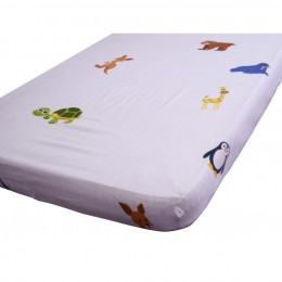 Baby Cot Fitted Sheet - Animals Around The World