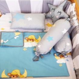 Organic Cot Bedding Set -Sweet Dreams with Star Plush Pillow