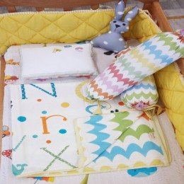 Organic Cot Bedding Set - ABCD With Rabbit Plush Pillow