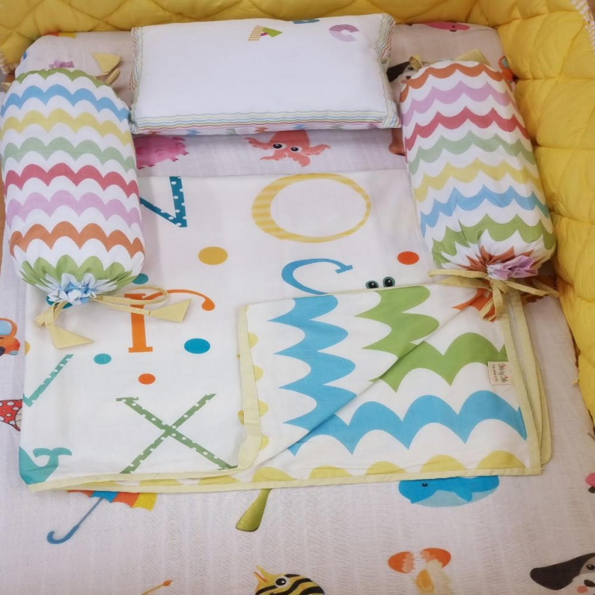 Cot Bedding Set with Organic Baby Dohar Blanket and Cotton Pillow - ABCD