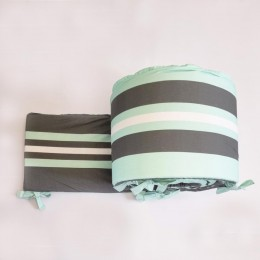Baby Cot Bumper with Removable Outer Cover, Mint Green + Grey