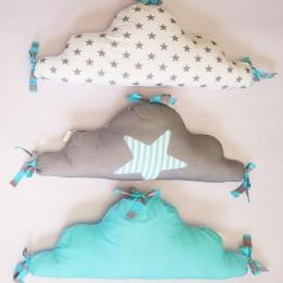 Cloud Baby Half Cot Bumper, Blue+Grey