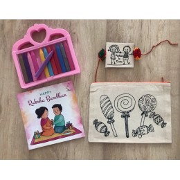 Do It Yourself Colouring Rakhi + DIY Colouring Candyland Pencil Pouch Gift Pack
