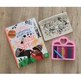 Do It Yourself Colouring Rakhi + DIY Colouring Space Explorer Pencil Pouch Gift Pack