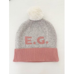 Beanie - Snow Marl and Lily Pink