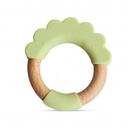 Little Rawr Wood + Silicone Teether Ring -Green