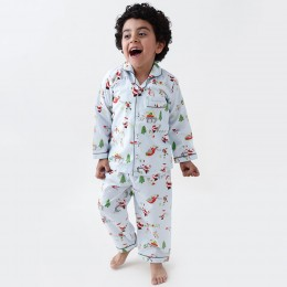 Santa's workshop pajama set - winter blue