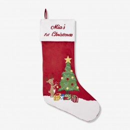 Reindeer & Tree Luxe Stocking (Winter Joys Collection)