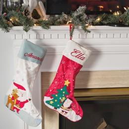Santa & His Reindeer Luxe Stocking