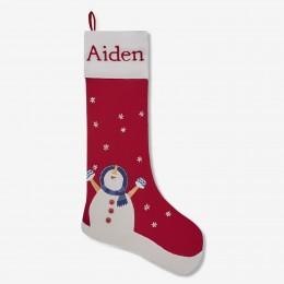 Snowman Linen Stocking