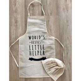 Worlds Bestest Little Helper - Chef Apron and Hat