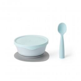 First Bite Suction Bowl With Spoon Feeding Set Aqua -Aqua