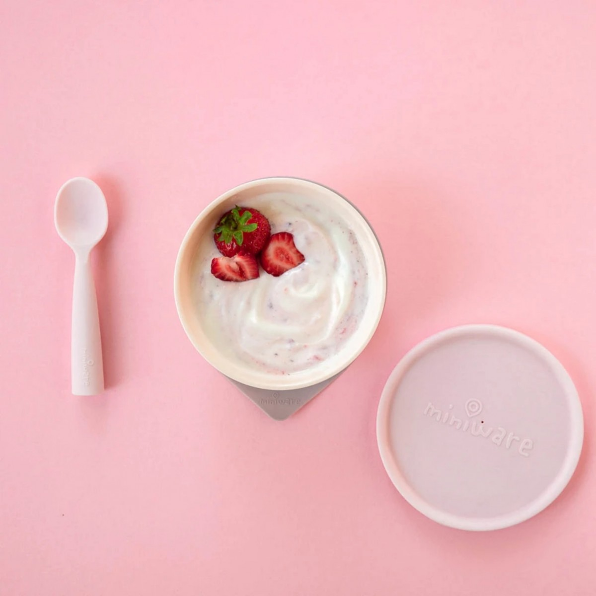 First Bite Suction Bowl With Spoon Feeding Set Cotton Candy- Cotton Candy