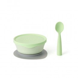 First Bite Suction Bowl With Spoon Feeding Set Key Lime- Key Lime