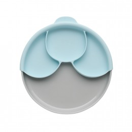 Healthy Meal Suction Plate with Dividers Set - Grey and Aqua
