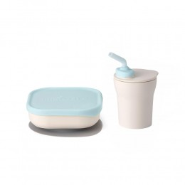 Sip & Snack- Suction Bowl with Sippy Cup Feeding Set Vanilla/Aqua