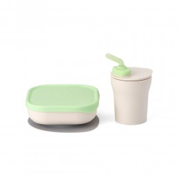 Sip & Snack- Suction Bowl with Sippy Cup Feeding Set Vanilla/Lime