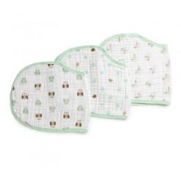 Mint Green Muslin Burp Cloth Bibs - 3 Pack
