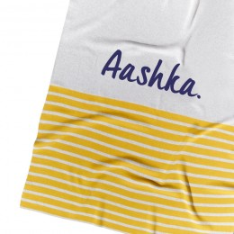 Mustard Stripe Personalized Organic Cotton Knitted Blanket