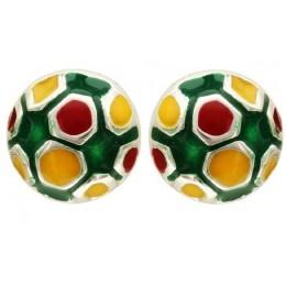 Enamelled Earrings - Football