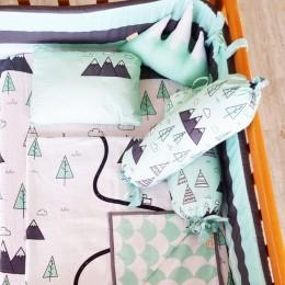 Organic Cot Bedding Set - Far Far Away With Mountain Plush Pillow