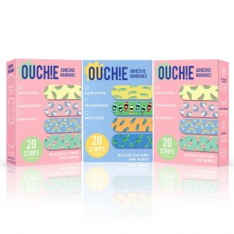 Ouchie Non-Toxic Printed Bandages COMBO Set of 3 (3 x 20= 60 Pack) - 2 x PINK & 1 BLUE