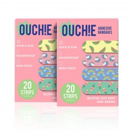 Ouchie Non-Toxic Printed Bandages COMBO Set of 2 (2 x 20= 40 Pack) - Pink