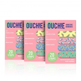 Ouchie Non-Toxic Printed Bandages COMBO Set of 3 (3 x 20= 60 Pack) - Pink