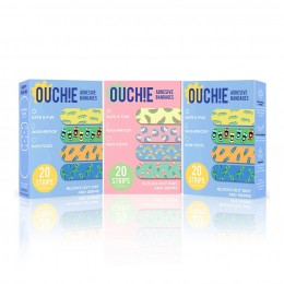 Ouchie Non-Toxic Printed Bandages COMBO Set of 3 (3 x 20= 60 Pack) - 2 x BLUE & 1 PINK