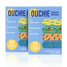 Ouchie Non-Toxic Printed Bandages COMBO Set of 2 (2 x 20= 40 Pack) - Blue