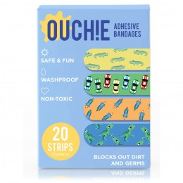 Ouchie Non-Toxic Printed Bandages - 20-pack -Blue