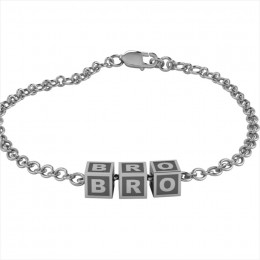 Sterling Silver Bracelet BRO with Oxidised Square Cubes