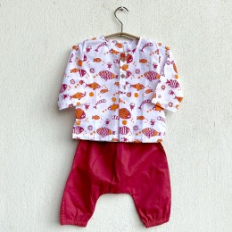 Unisex Organic Koi Red Kurta With Matching Pants
