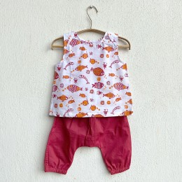 Unisex Organic Koi Red Jhabla With Red Pants