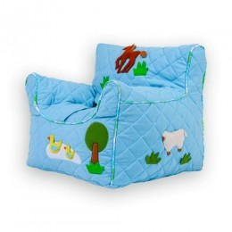 Farm Animal Quilted Blue - Beanchair Cover (Small)