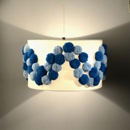 Blue Pompom Pendant Light