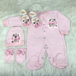 Royal Jewel Baby Girl 4 Piece Set - Teddy Pink