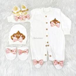 Royal Jewel Baby Girl 4 Piece Set - Coral Pink Gold