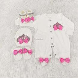 Royal Jewel Baby Girl 4 Piece Set - Dark Pink White