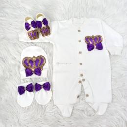 Royal Jewel Baby Girl 4 Piece Set -Purple Gold
