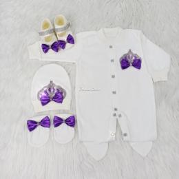 Royal Jewel Baby Girl 4 Piece Set - Purple White