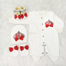 Royal Jewel Baby Girl 4 Piece Set - Red White