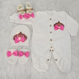 Royal Jewel Baby Girl 4 Piece Set - Dark Pink Gold