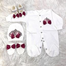 Royal Jewel Baby Girl 4 Piece Set - Maroon White