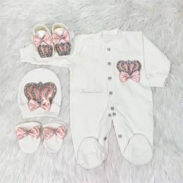 Royal Jewel Baby Girl 4 Piece Set - Peach White