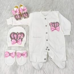 Royal Jewel Baby Girl 4 Piece Set - Pink White