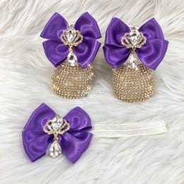 Cinderella Shoes & Headband - Purple & Gold