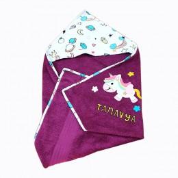 Hooded Towel- Purple Big Unicorn