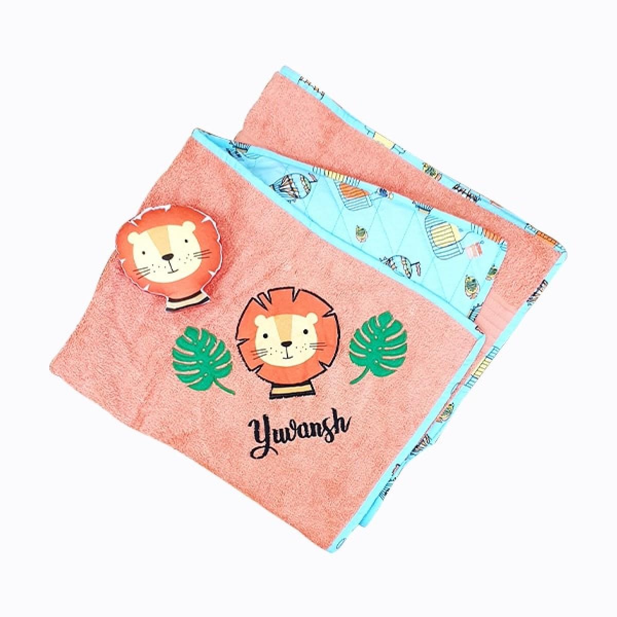 Hooded Towel- Orange Lion