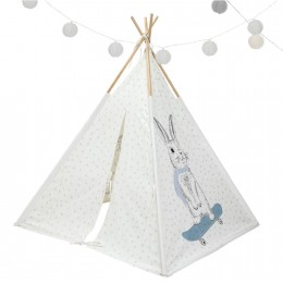 Teepee Tent - Rabbit and Powder Blue Dots